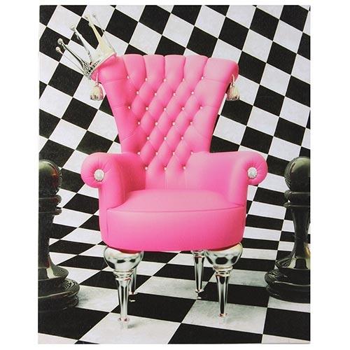 Tela Impressa Cadeira Rosa e Fundo Xadrez Fullway - 40x50 cm