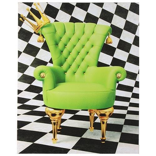 Tela Impressa Cadeira Verde e Fundo Xadrez Fullway - 40x50 cm