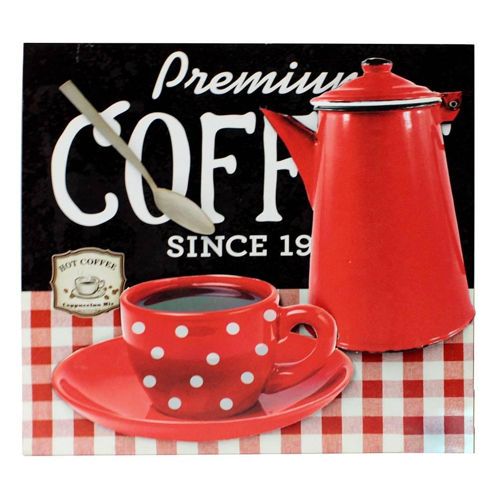 Tela Impressa Café/Bule Vermelho Fullway em MDF - 50x50 cm