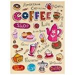Tela Impressa Cafés Coloridos Fullway - 80x60 cm