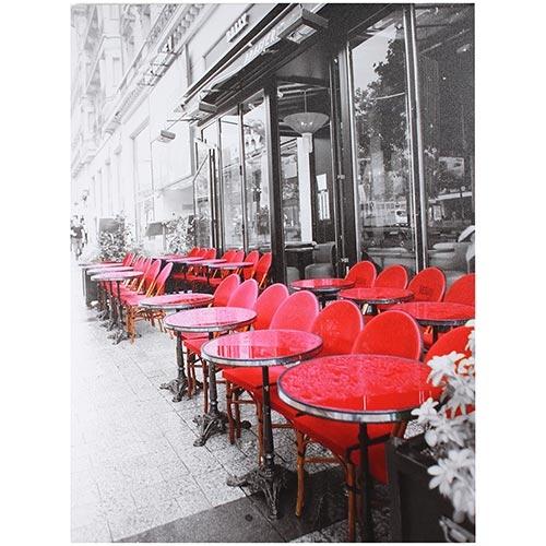 Tela Impressa Caffe Mesas Vermelhas Fullway - 80x60 cm