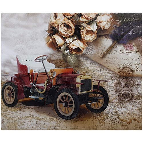 Tela Impressa Calhambeque c/ Flor Fullway - 50x60 cm