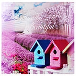 Tela Impressa Casinhas Beautiful Fullway - 90x90 cm