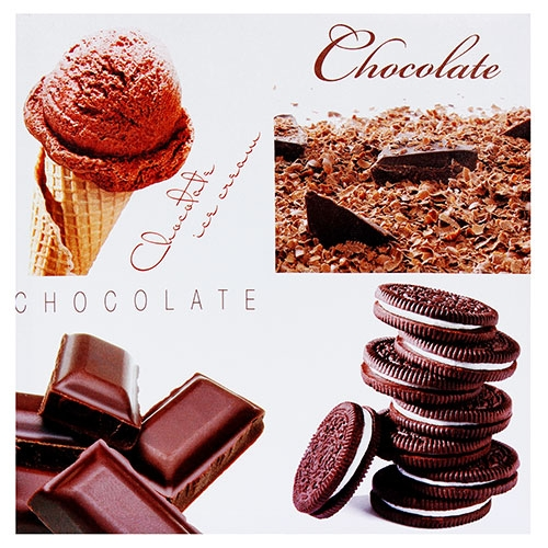 Tela Impressa Chocolate e Sorvete Preto Fullway - 40x40 cm