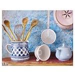 Tela Impressa Cozinha Azul com Louças Fullway - 90x70 cm