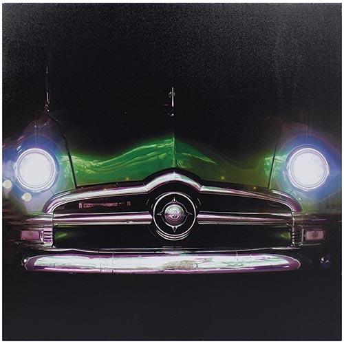 Tela Impressa Frente Carro Verde c/ Faróis de Led Fullway - 60x60 cm