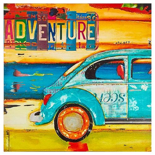 Tela Impressa Fusca Azul Adventure Fullway - 90x90 cm