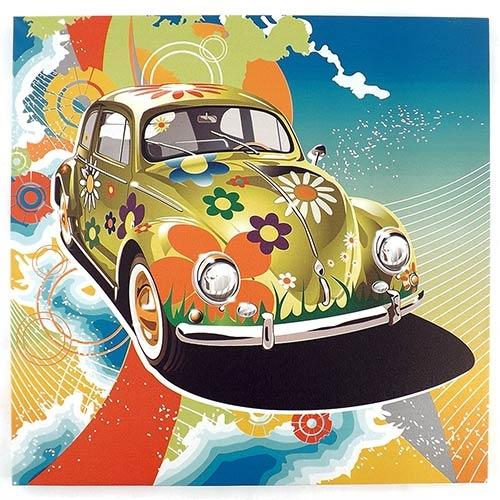 Tela Impressa Fusca Flores Colors Fullway - 40x40 cm
