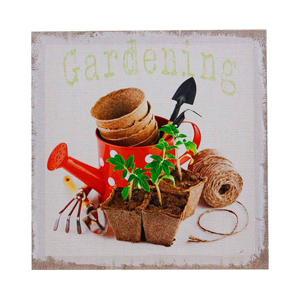 Tela Impressa Gardening Regador Oldway - 28x28x3 cm