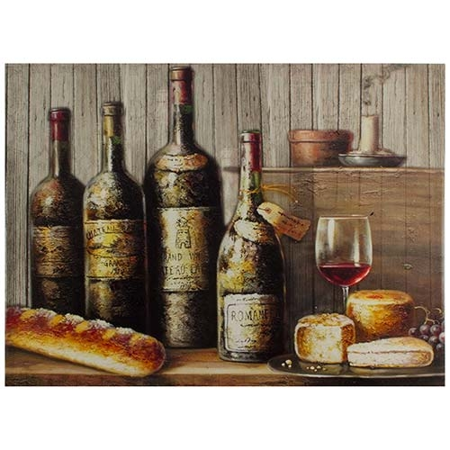 Tela Impressa Garrafas Vinho Fullway - 50x70 cm
