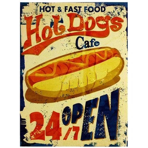 Tela Impressa Hot Dogs 24h Open Fullway - 40x30 cm