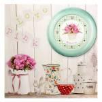 Tela Impressa Jarros, Flor, Relógio com Fundo Branco em MDF - 40x40 cm