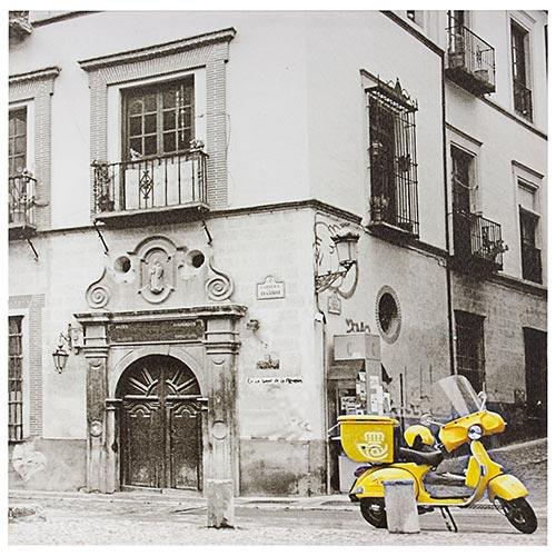 Tela Impressa Lambreta Amarela Fullway - 50x50 cm