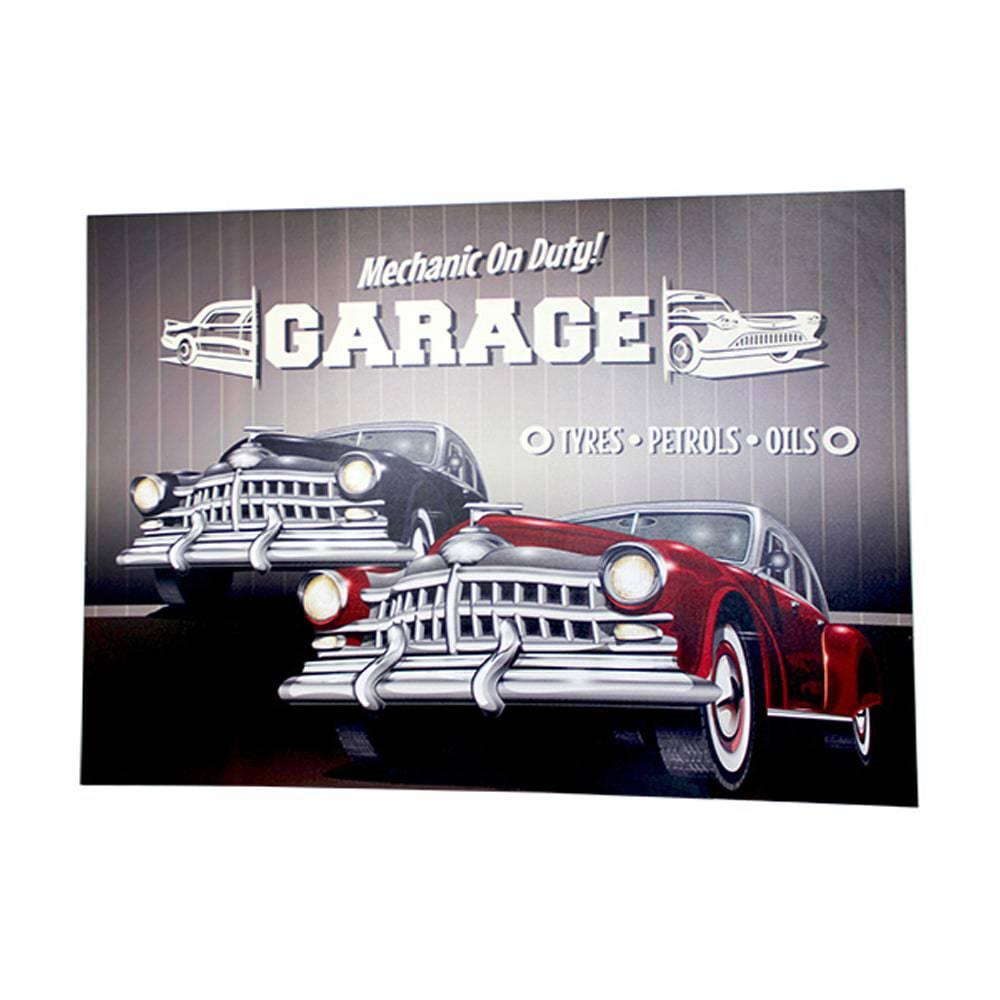 Tela Impressa com Led Garage Oldway - 100x140x4 cm