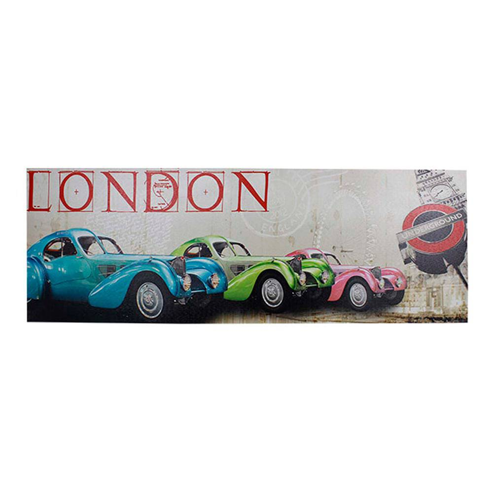 Tela Impressa London Candy Cars Fullway - 30x90x2,5 cm