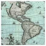Tela Impressa Mapa da América Frente de Vidro Fullway - 70x70 cm