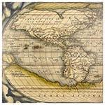 Tela Impressa Mapa da América Fullway - 100x100 cm