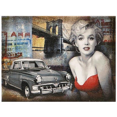 Tela Impressa Marylin Cadillac Black Oldway - 30x40 cm