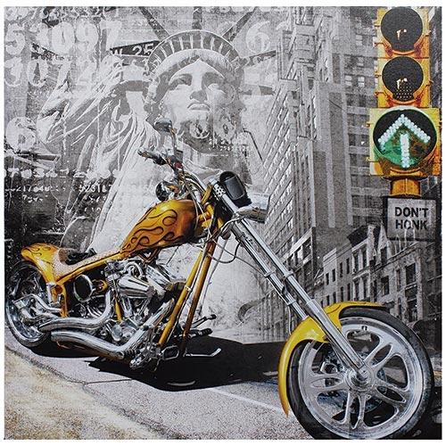 Tela Impressa Moto Amarela New York Fullway - 60x60 cm