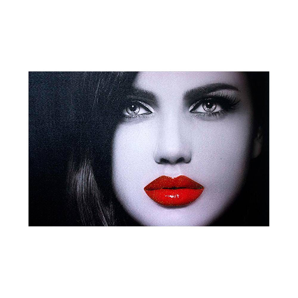 Tela Impressa Mulher de Batom Vermelho Fullway - 70x50x3 cm