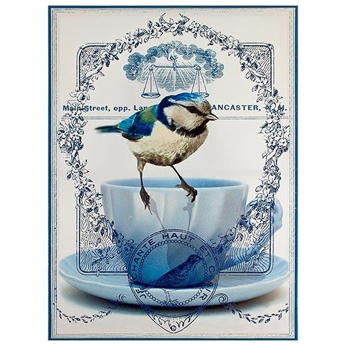 Tela Impressa Pássaro Azul na Xícara Fullway - 70x50 cm