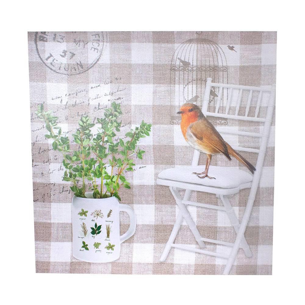 Tela Impressa Pássaro na Cadeira Fullway - 100x100x4 cm