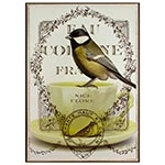 Tela Impressa Pássaro na Xícara Fullway - 70x50 cm