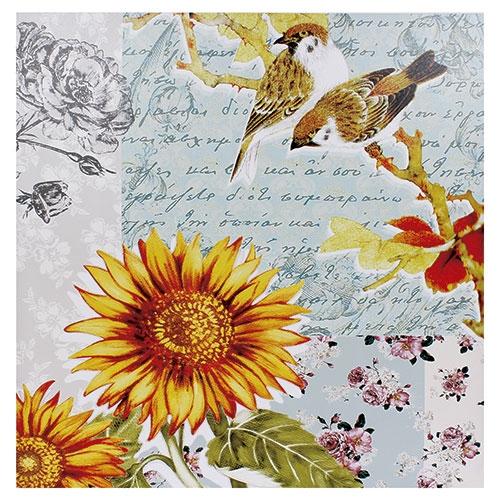 Tela Impressa Pássaros e Girassol Fullway - 90x90 cm