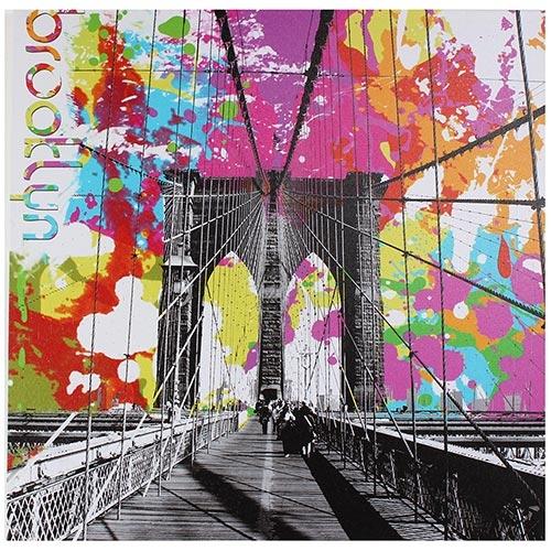 Tela Impressa Ponte Brooklyn Colorida Fullway - 50x50 cm