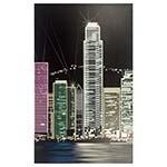 Tela Impressa Prédios a Noite com LED Fullway - 130x80 cm