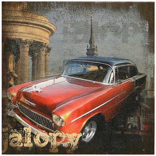 Tela Impressa Red Car Jalopy Oldway - 40x40 cm