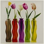 Tela Impressa Rosas nos Vasos Fullway