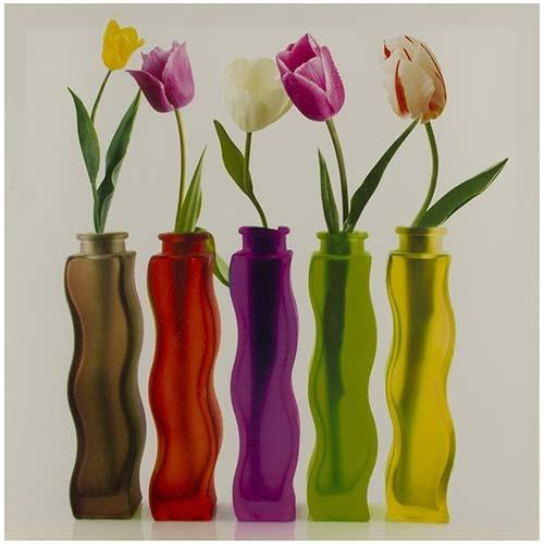 Tela Impressa Rosas nos Vasos Fullway - 40x40 cm