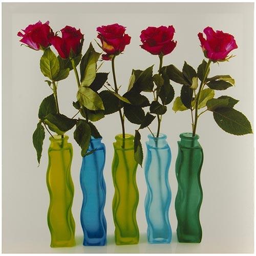 Tela Impressa Rosas Vermelhas nos Vasos Fullway - 40x40 cm