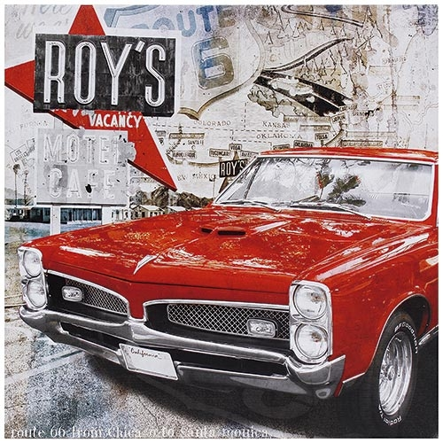 Tela Impressa Roys Carro Vermelho Fullway - 50x50 cm