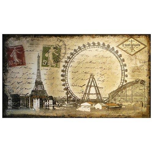 Tela Impressa Selo Paris Eiffel Oldway - 160x90 cm