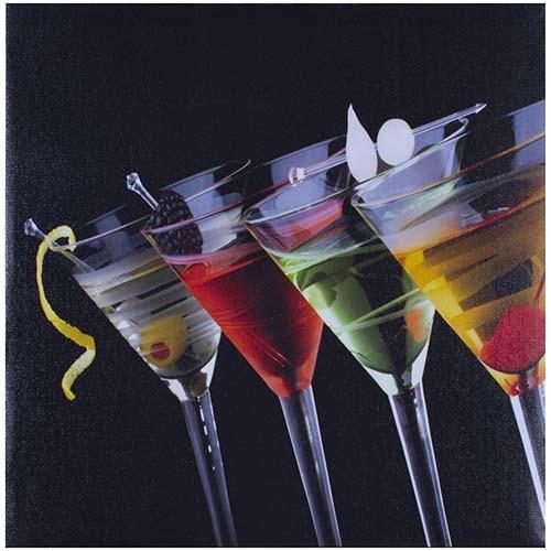 Tela Impressa Taças de Martini Fullway - 40x40 cm