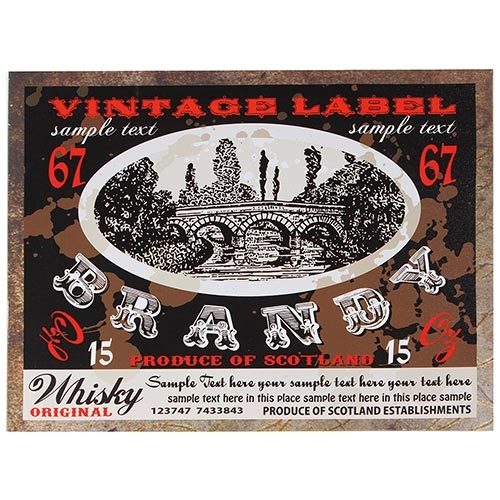 Tela Impressa Vintage Label Brandy Fullway - 30x40 cm