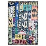 Tela Impressa Vintage Placas e Route 66 Oldway - 160x110 cm