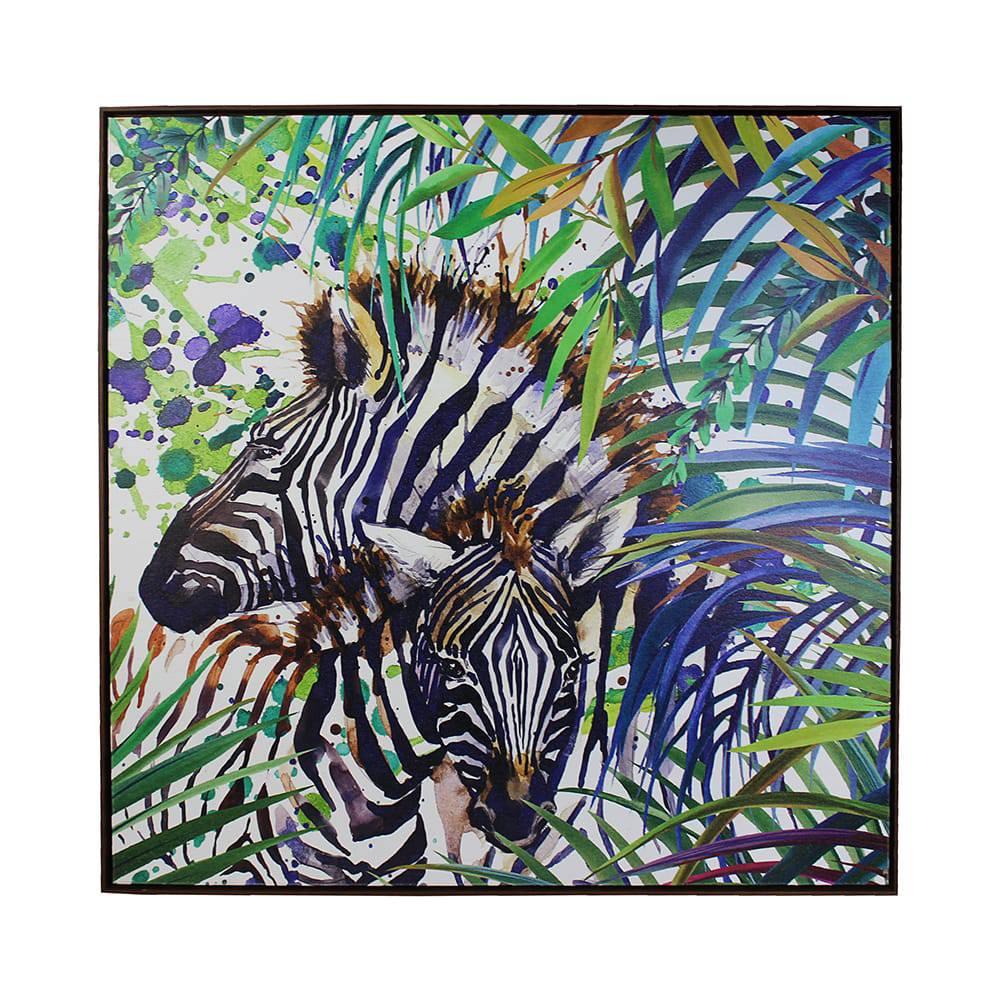 Tela Impressa Zebra nos Arbustos Fullway - 90x90x4 cm