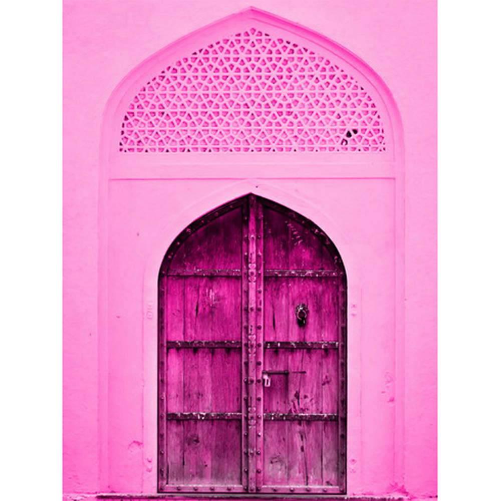 Tela Indian Door Pink em MDF - Urban - 80x60 cm