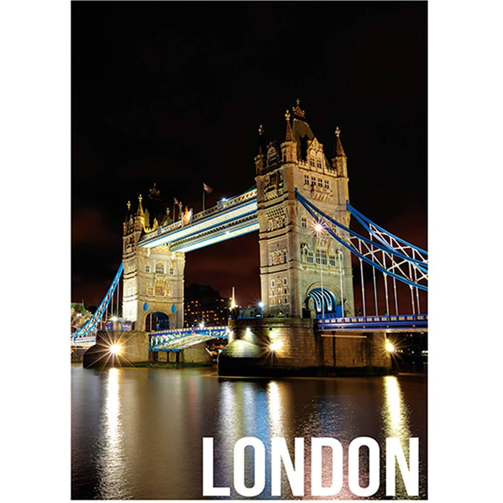 Tela Landscape London Night Lights em MDF - Urban - 70x50 cm