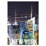 Tela Landscape New York Night Lights em MDF - Urban - 70x50 cm