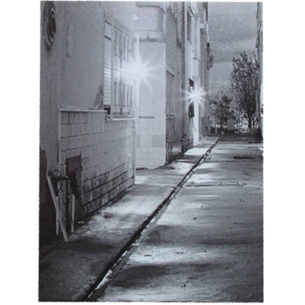 Tela Com Led Alley Fundo Preto e Branco em MDF - Urban - 40x30 cm