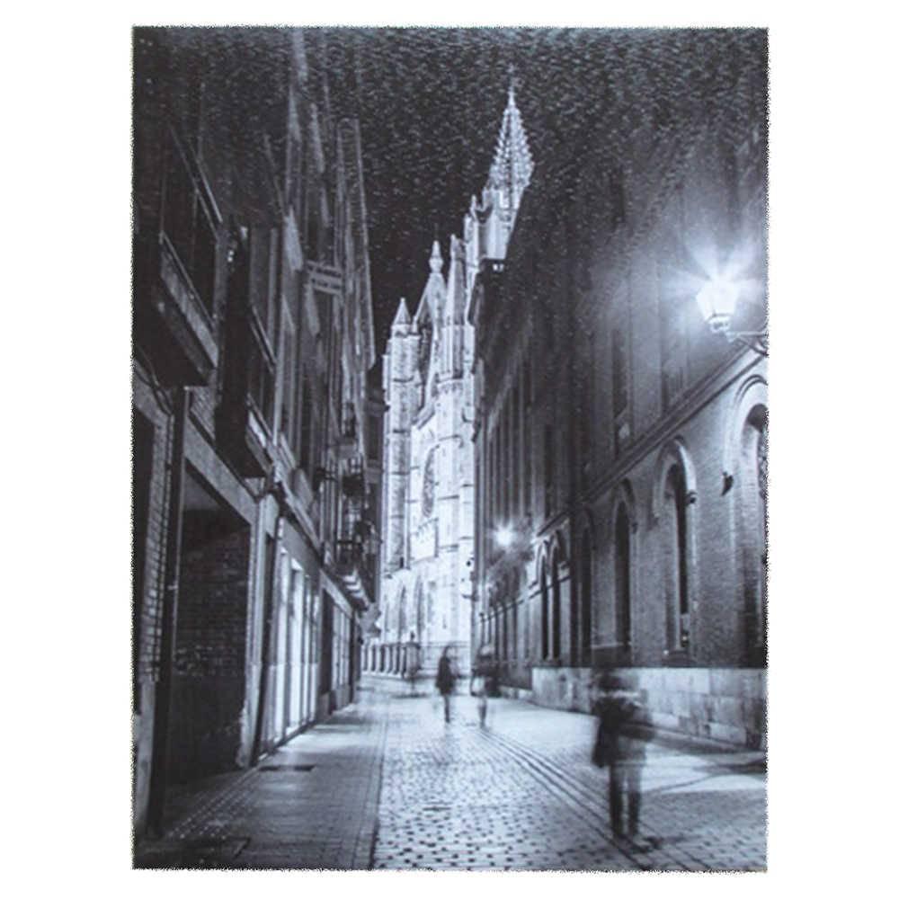 Tela com Led Church Branco e Preto em Madeira - Urban - 40x30 cm