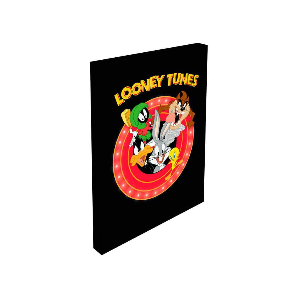 Tela com LED Looney Tunes All Caracthers Fundo Preto em Madeira - 70x50 cm