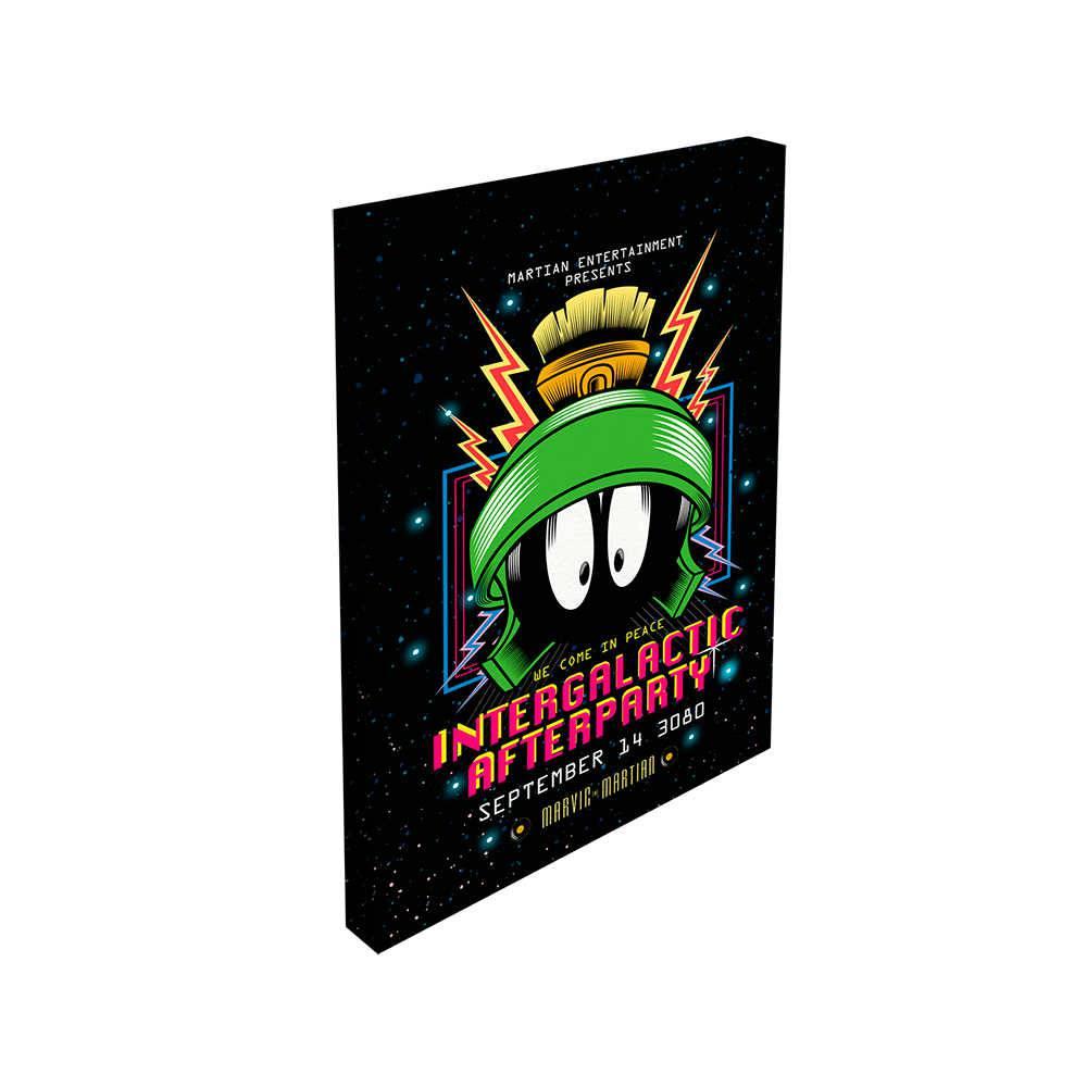 Tela com Led Looney Tunes Marvin The Intergalatic Fundo Preto em Madeira - 70x50 cm