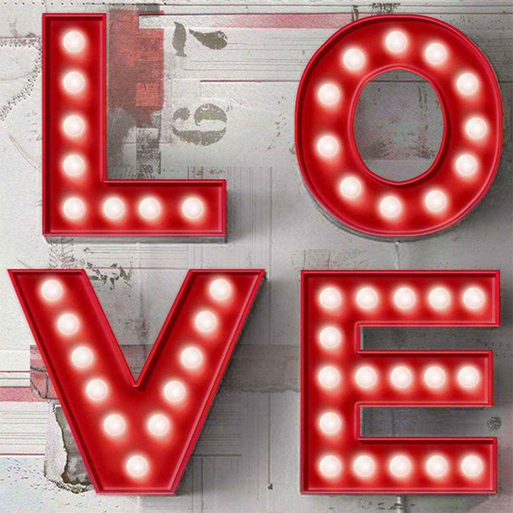 Tela com Led Love Divided Fundo Branco em MDF - Urban - 60x60 cm