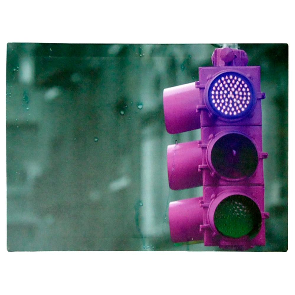 Tela com Leds Farol Rosa c/ Estampa em Canvas e Estrutura em Madeira - 40x29 cm