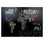 Tela LEDs Mapa e Relógio Mundi Fullway - 100x140 cm